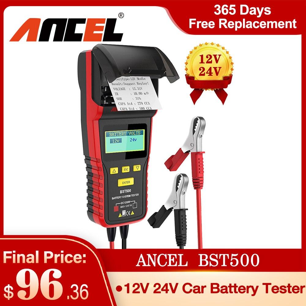 Ancel-جهاز اختبار بطارية السيارة ، أداة تشخيص مع طابعة حرارية ، محلل بطارية الشاحنة ، قوي ، 12 فولت ، 24 فولت ، BST500