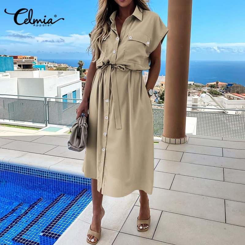 Fashion Womens Cargo Dress Celmia Summer Lapel Short Sleeve Midi Sundress Plus Size Casual Loose Buttons Vestidos Office Dresses