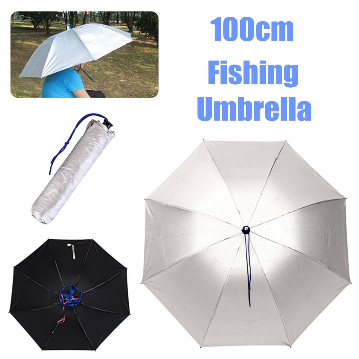 100CM Outdoor Fishing Caps Portable Head Umbrella Hat Anti-Rain Fishing Hunting Anti-Sun Umbrella Hat Adults Unisex Sports Cap