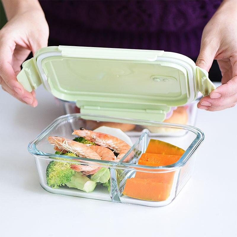 Fiambrera Bento de Cristal para almacenamiento de alimentos, horno microondas, Marmita, recipientes...