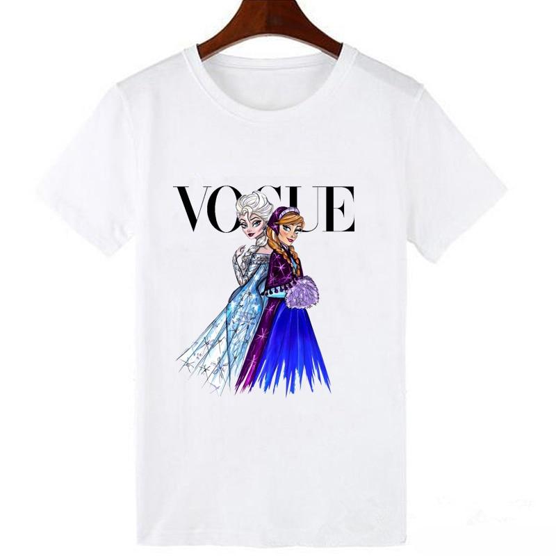 LUCKYROLL Elsa Anna Princesa y reina camiseta mujer Magic Vogue camiseta Casual de manga corta de dibujos animados de moda camiseta de dibujos animados