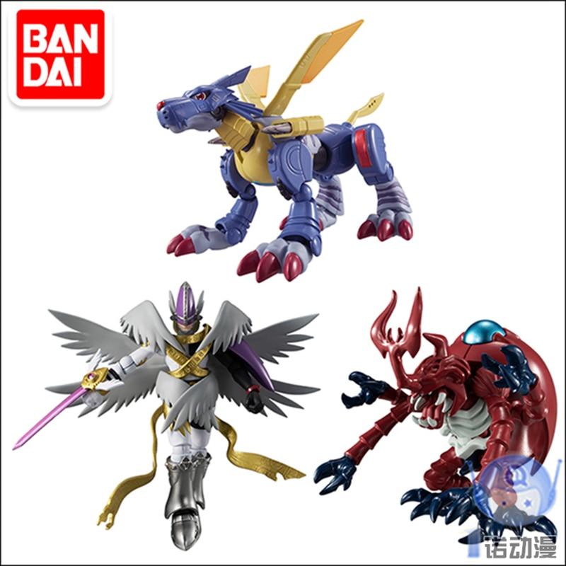 Bandai-شخصيات مجسمة Shokugan Shodo 46622 ، لعبة Pvc ، مغامرة Digimon Holy Angemon ، metal garurumon ، مجموعة أنيمي ، ألعاب للأطفال