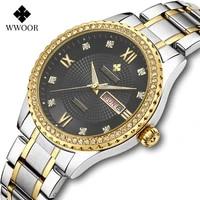 wwoor mens quartz watches top brand luxury diamond gold steel wristwatch casual waterproof week date clock box relogio masculino