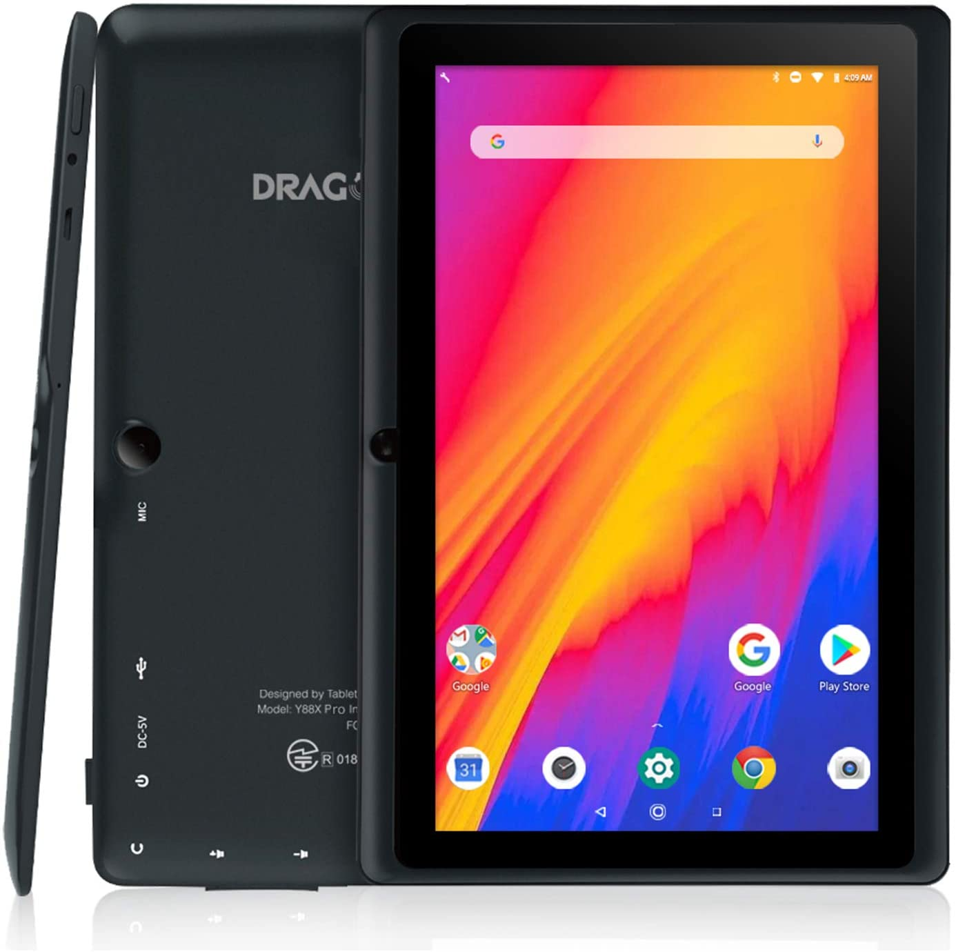 Drachen Touch 7 zoll Tablet Android 9,0 Pie Tabletten Quad-Core 2GB RAM 16GB Wifi Tablet IPS HD Display Dual Kamera
