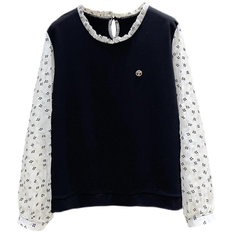 Mozaika w dużym rozmiarze bluzy damskie 2021 moda jesień francuski styl bluza z okrągłym dekoltem luźny, szykowny fałszywe dwuczęściowe bluzki