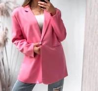 mozuleva 2021 chic loose light pink women blazer spring summer single buttons female oversized suit jacket full sleeve outwear