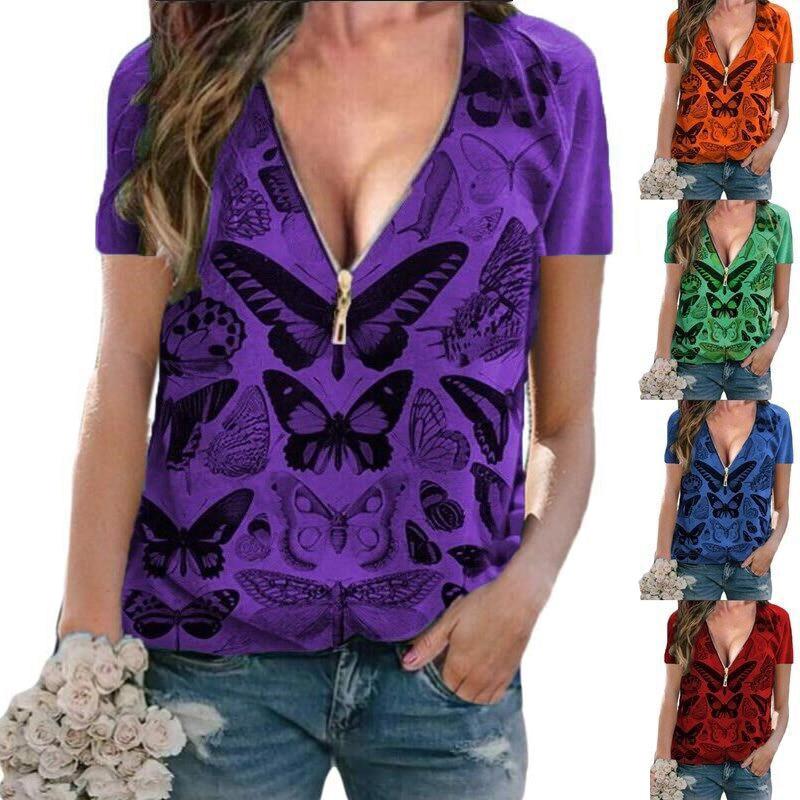 Moda verão camiseta feminina zíper sexy com decote em v borboleta impressão pulôver manga curta casual magro senhoras tops roupas camisa