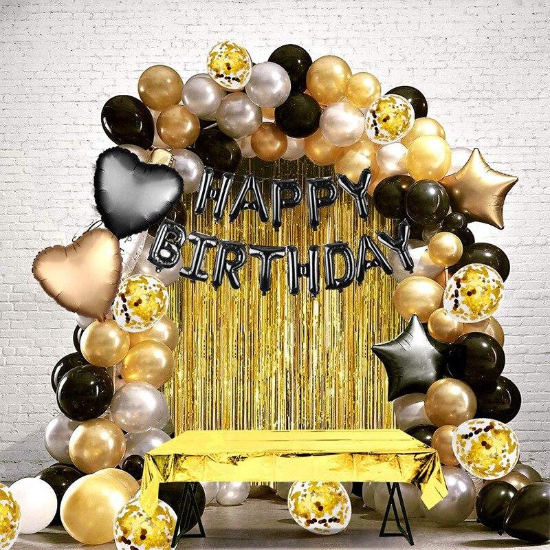 Verjaardag Ballon Set Voor Meisje Vrouwen Mannen Kids Baby Gouden Zwarte Prom Ballon Set Verjaardag Brief Gelukkig Ballon Feestartikelen