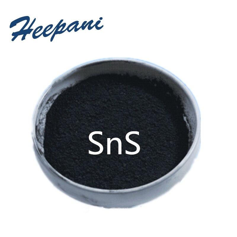 Envío Gratis 99.9% de pureza estannoso de sulfuro de SnS en polvo 1um/5um/10um de sulfuro de/estaño monosulfuro en polvo