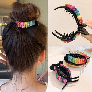 Korean Rainbow Hair Clips Big Crabs For Ponytail Bun Hair Clamps Candy Color Hairpin Accessories Fashion Headdress Gifts