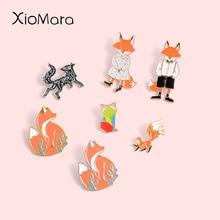 Petit renard émail épingles Collection Mini papier renard à neuf queue belle Badge personnalisé Animal bijoux broches épinglettes pour enfant cadeau
