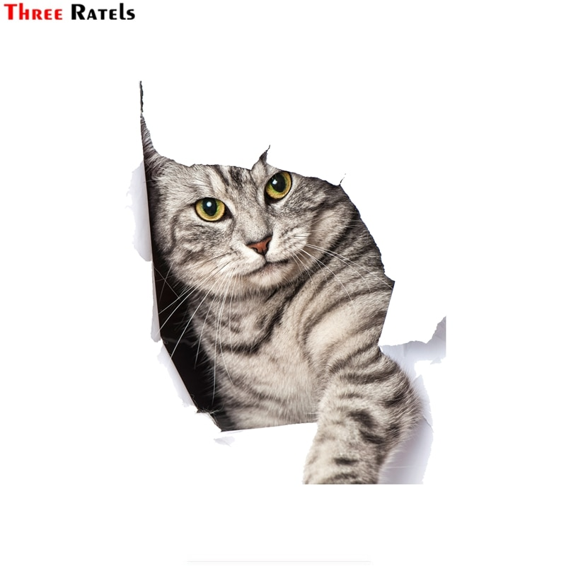 Three ratels FTC-671# 14X17.2CM peeking kitty cat Car Stickers on Motorcycle DIY Vinyl Decal Sticker Bomb JDM Car Styling