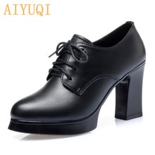 AIYUQI Women Spring Shoes High Heel 2021 New Genuine Leather Ladies Shoes Thick Heel Platform Pumps