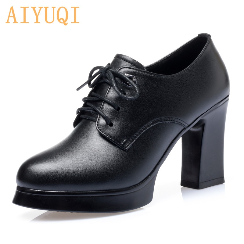AIYUQI zapatos de mujer primavera tacón alto 2020 nuevos zapatos de mujer de cuero genuino tacón grueso plataforma bombas Zapatos de vestir de moda