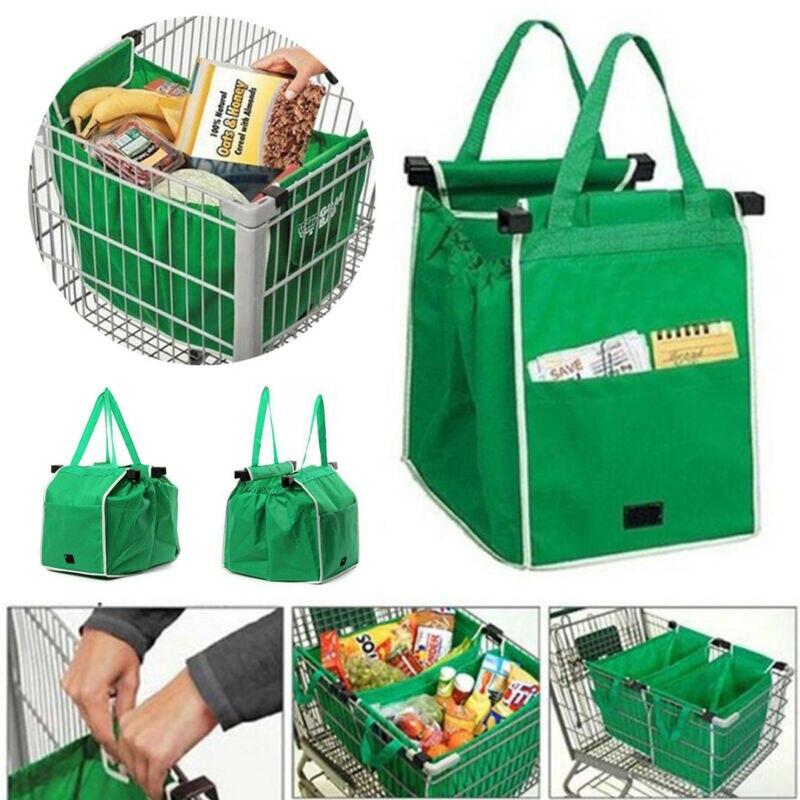 Reutilizable supermercado compras Eco bolsas plegables Clip-To-Cart bolsa hogar