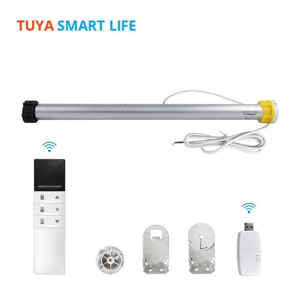 Tuya الذكية الحياة WiFi الأسطوانة الظل المحرك مع USB دونغل ل 38 مللي متر أنبوب أليكسا جوجل المنزل نظام المنزل الذكي للستارة