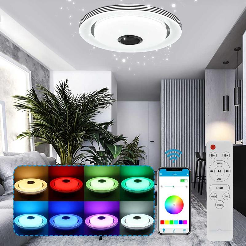 luminaria de teto led rgb ajustavel 36w 80w luminaria redonda inteligente para casa
