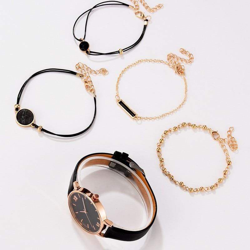 5pcs Women Watch Set Woman Quartz Wristwatch Leather Ladies Bracelet Luxury Watch Casual Relogio Femenino Gift For Girlfriend enlarge
