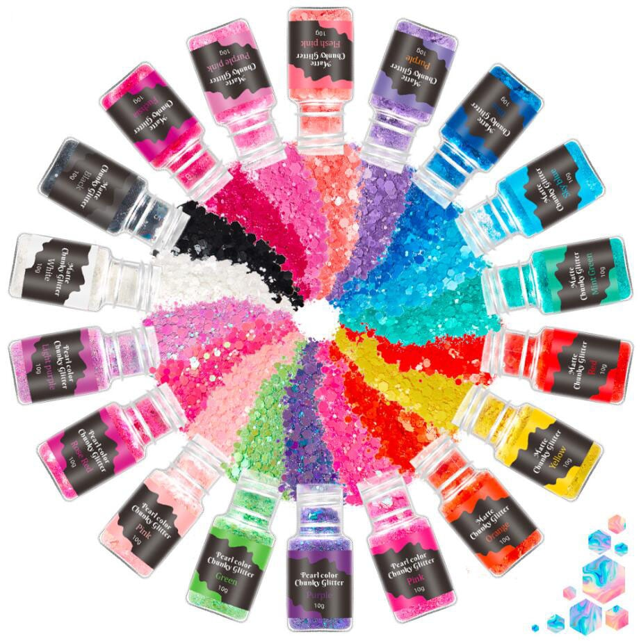 12 Color Glitter Sequins Eyeshadow Face Body Painting Chunky Holographic Makeup Nail Art Pigment Flu