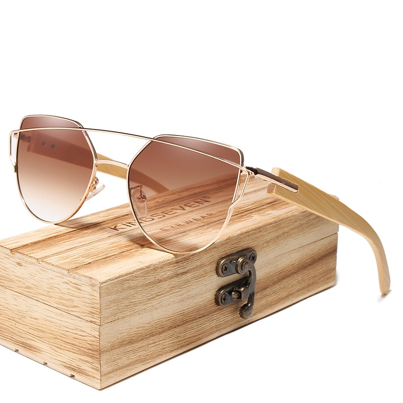 KINGSEVEN Handmade Wood Sunglasses Men Bamboo Sunglass UV400 Women Brand Design Original Wood Glasse