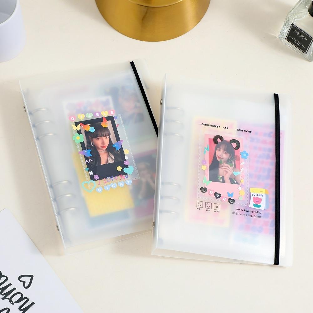 milkjoy a5 binder photocard armazenamento coletar livro deco bolso 6 buraco arquivo