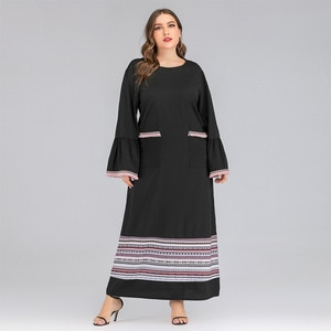 S2CITYLIFE New Style Plus Size Women's Dress Autumn And Winter Long Skirt Contrast Color Casual Flared Sleeve Dress