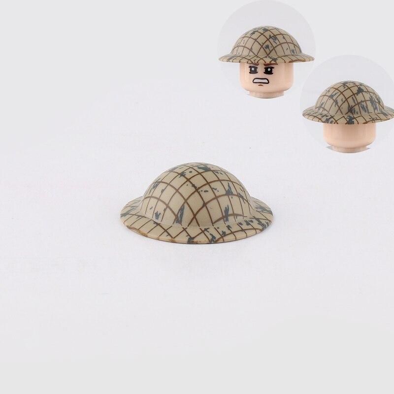 5Pcs WW2 Soldier Military Helmet Accessories Building Blocks WW2 British soldier Mesh MK2 helmet Accessories equipment Brick toy