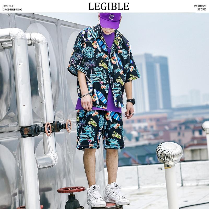 Camisetas de manga corta para hombre LEGIBLE, pantalones cortos, Estilo bohemio de verano para hombre, trajes de playa Harejuku, ropa de calle para hombre