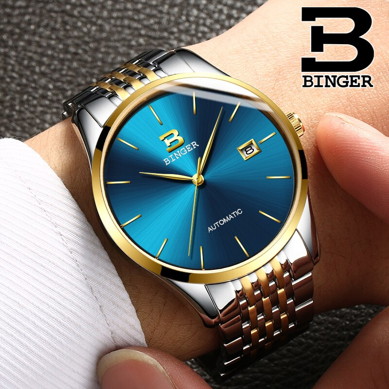 Relojes mecánicos de lujo BINGER, movimiento japonés Seiko (NH35A), relojes mecánicos estables y confiables,