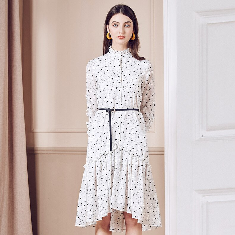 2020 women Fashion dress spring  French retro skirt fungus collar wave dot chiffon dress women