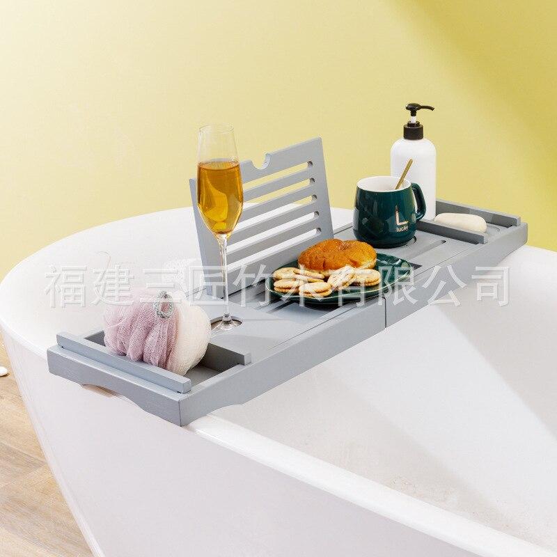 الخيزران حوض الاستحمام صينية حامل حوض الاستحمام مع صندوق الصابون ، حامل منشفة استحمام ، حامل كأس للنبيذ ، حامل القراءة ، حامل لوحي