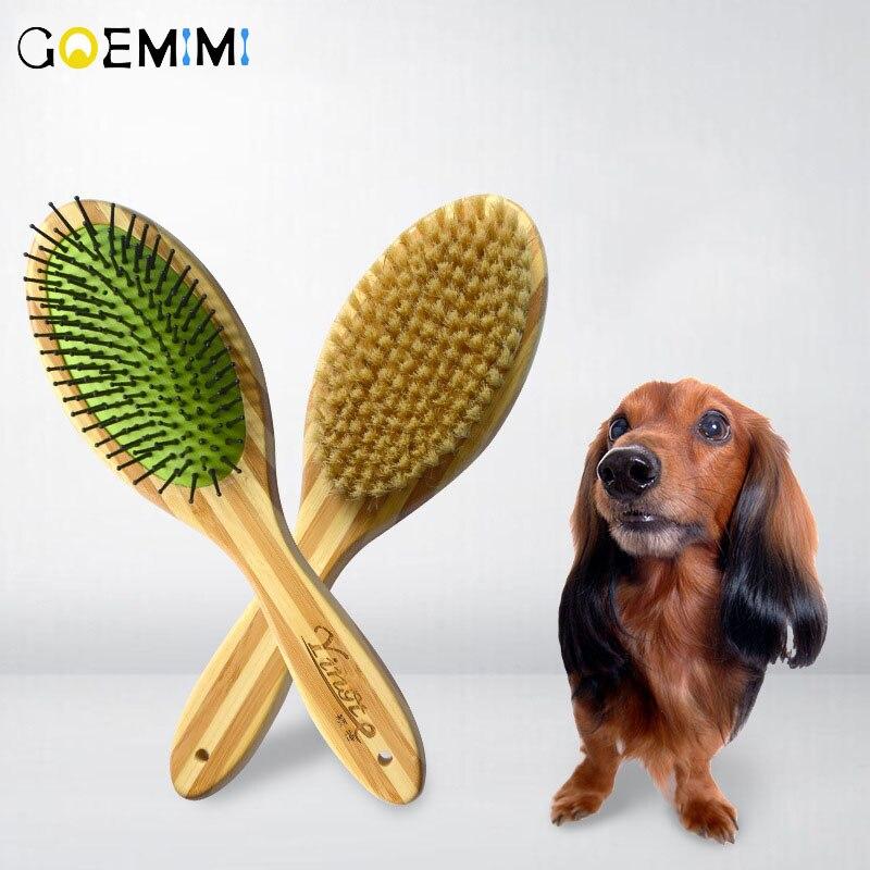 Pet peine lado doble perro peine cepillo de pelo de madera de bambú de limpieza de mascotas aseo abierto nudo de Peine accesorios para perro
