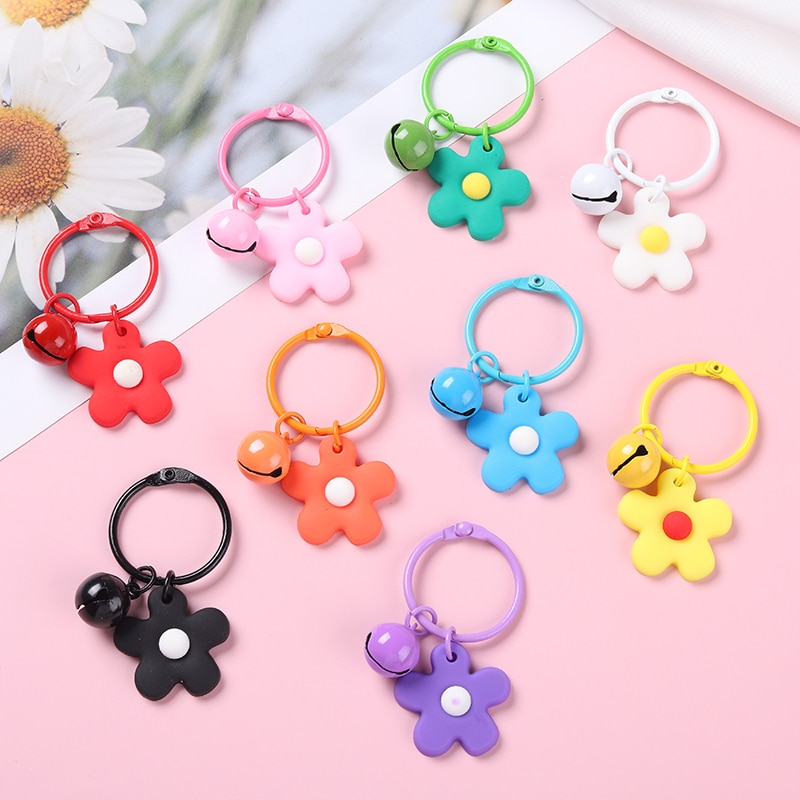 Cute Flower Keychains with Bell Variety of Color Rubber Creative Accessories Backpack Key Phone Gift