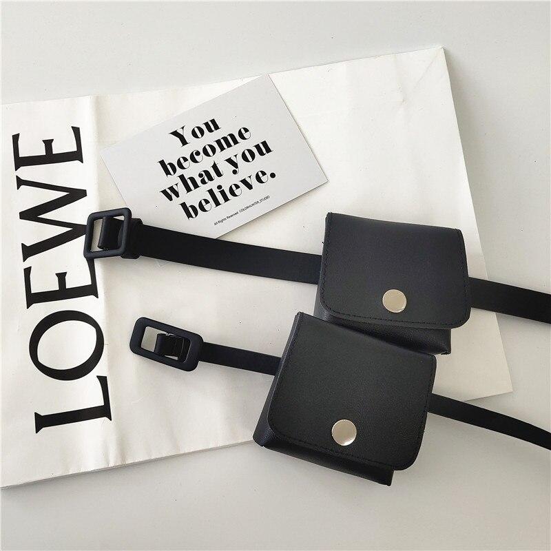 Japanese Style Non-Hole Small Bag Simple Black Women's Thin Belt Women's Korean Fashion Belt Casual