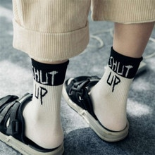 1 Pair High Quality American Style Street hip-pop black and white cool slang letters Socks Women Summer slogan female socks