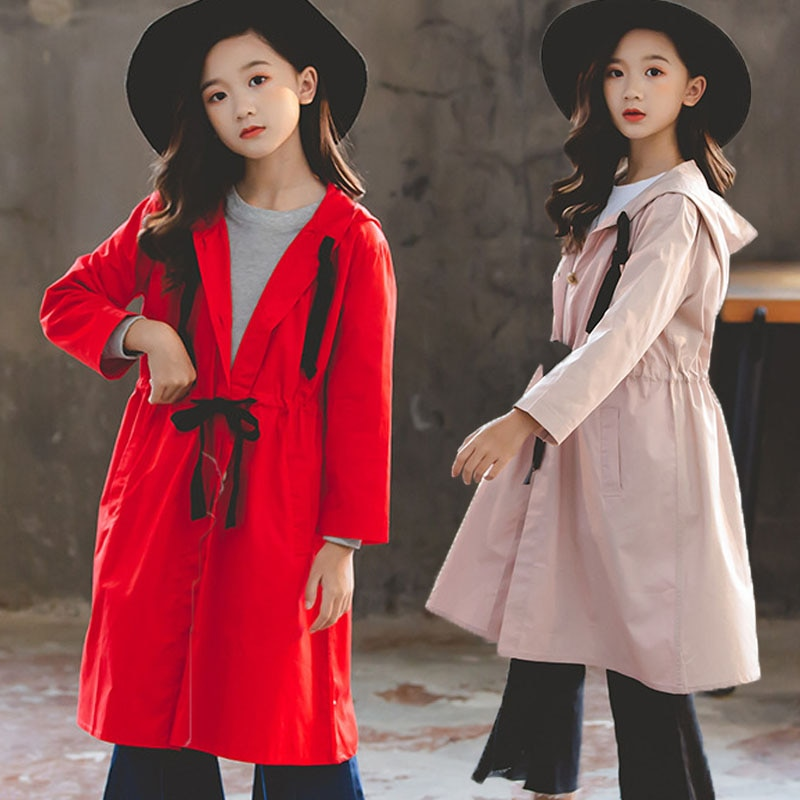 Back To School Clothing Hooded Teens Kids Coats Girls Teenagers Jacket Girls Coat Autumn 2019 Long M