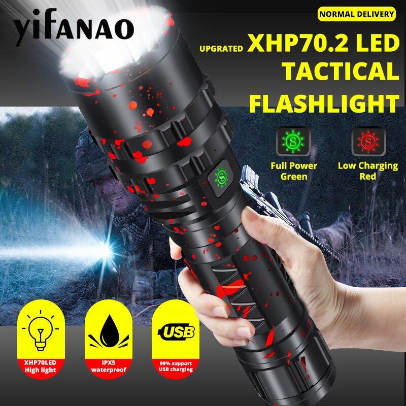 Ultra Bright XHP70.2 LED Flashlight Xlamp 8000LM Powerful XHP50.2 Lanterna For Hunting L2 Waterproof Torch Light Use 18650 26650