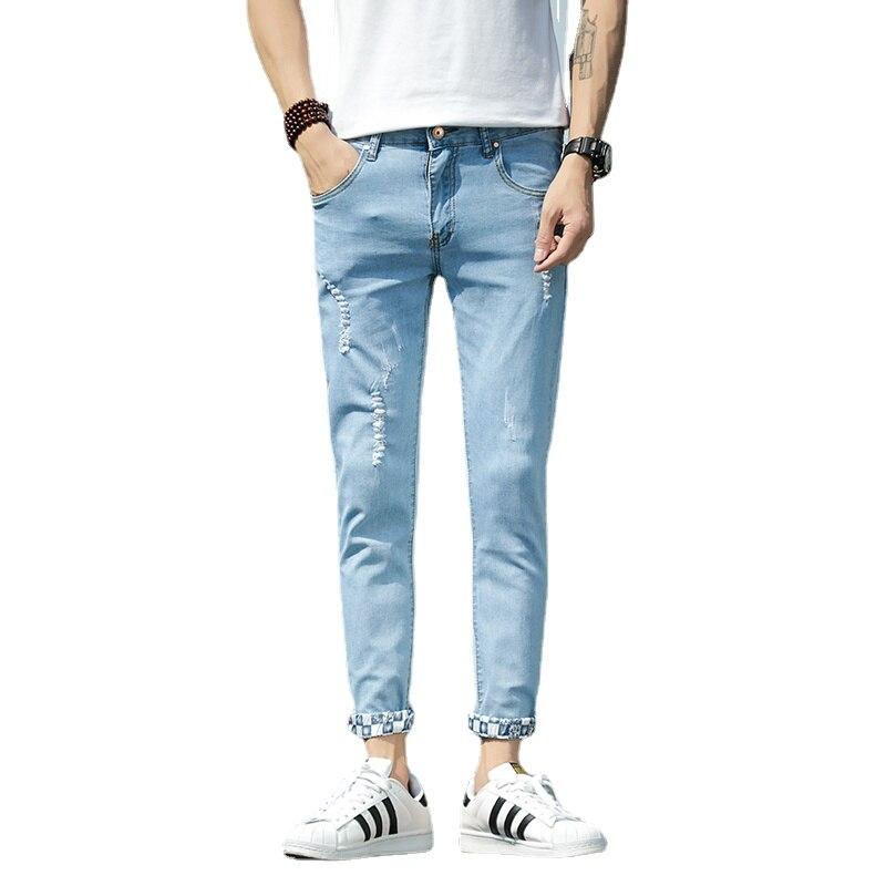 Мужские джинсы, мужские джинсы, Мужские штаны, корейские джинсы, брюки, джинсовые штаны, джинсовые брюки, мужские рваные брюки в Корейском ст...