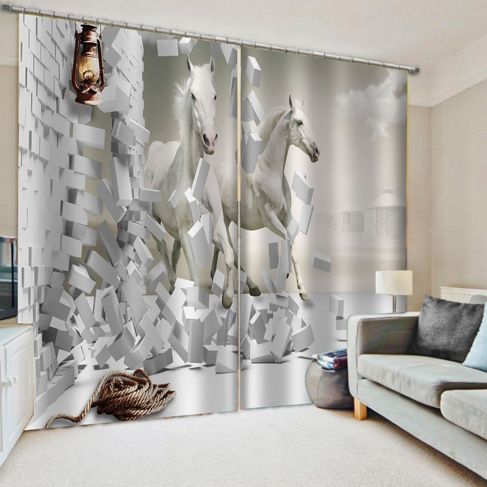 3D Window Curtain Horse Stereoscopic Wall White Curtains For Living Room Bedroom Modern Fashion Children Drapes For Window
