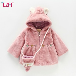 LZH  2021 Autumn Winter Jackets For Girls Clothing Cute Hooded Kid's Girl Coat Long Sleeve Children's Outerwear For Baby 1-4year