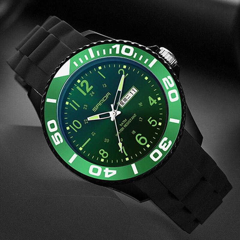 SANDA New Men Sports Watches Fashion Rubber Strap Quartz Wristwatches Male Montre Homme Reloj Hombre Led Light Student Clock