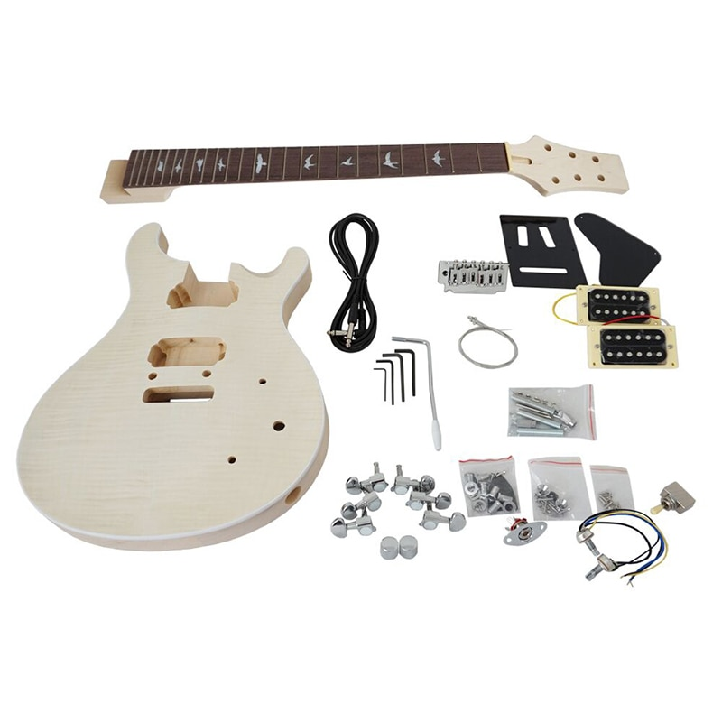 Aiersi Unfinished DIY PRS Electric Guitar Kits Basswood Body Musical Instrument Guitar with All Hardwares enlarge