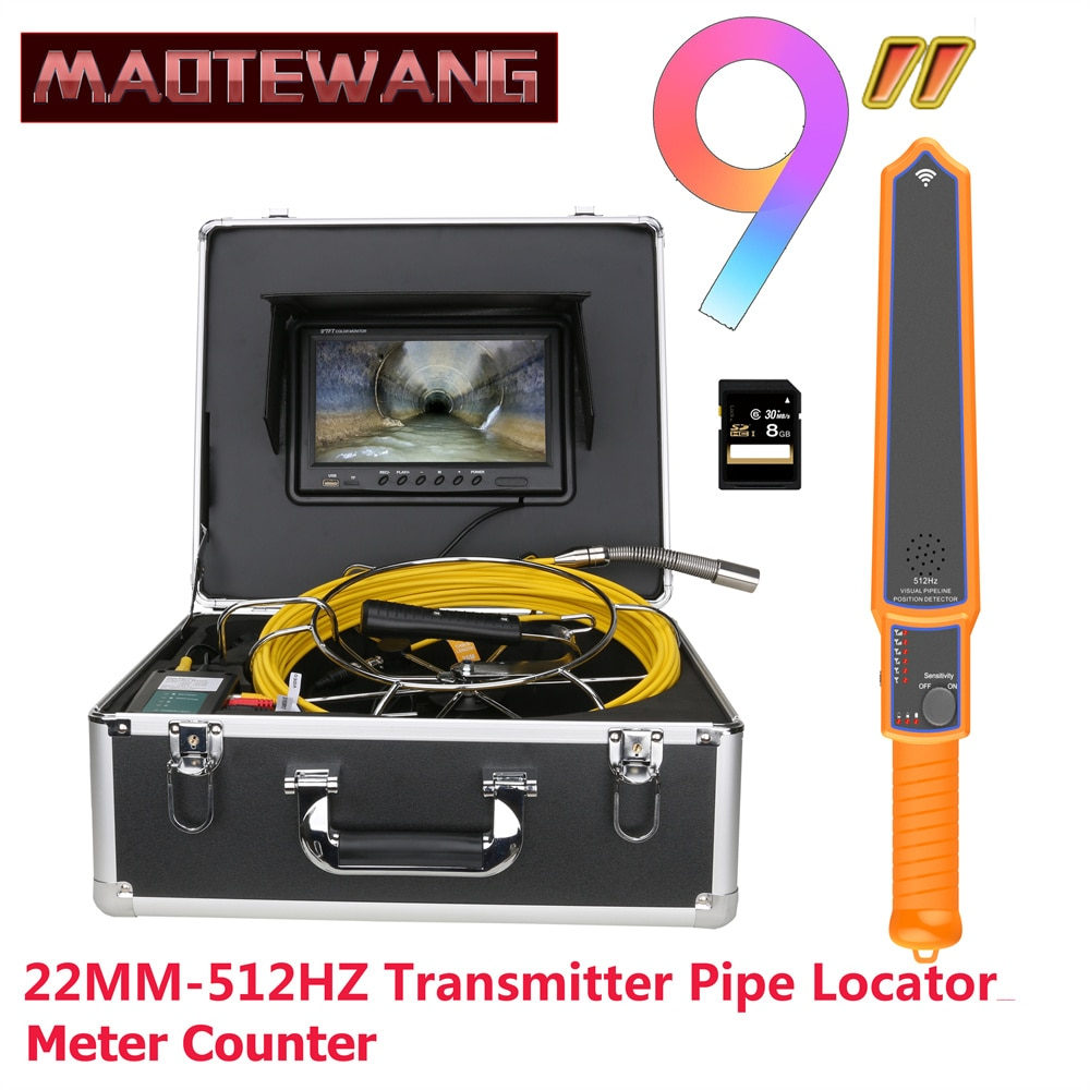 Promo 9″Monitor DVR 22MM IP68 HD 1000TVL Sewer Pipe Inspection Video Camera with Meter Counter 512HZ Pipe Locator 12PCS LED Lights