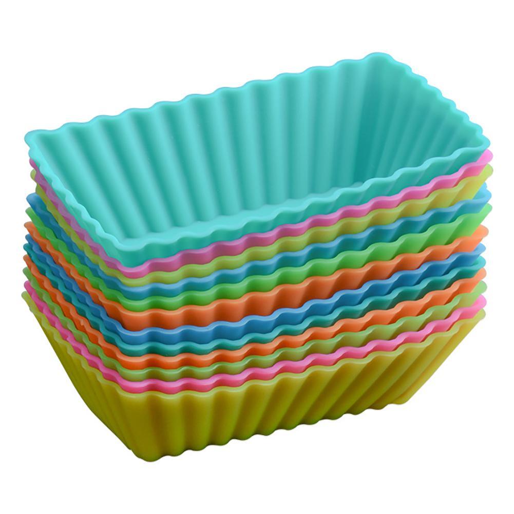 ¡Nos ES FR en STOCK! 12 piezas de silicona Rectangular reutilizable para hornear moldes de pastel molde fabricante de molde para magdalenas (Color al azar)