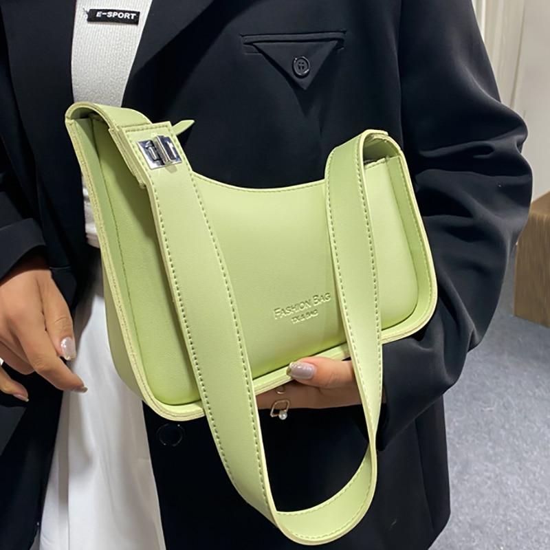 Solid Color Soft Leather Shoulder Crossbody Bags for Women 2021 New Designer Wide Shoulder Strap Lux