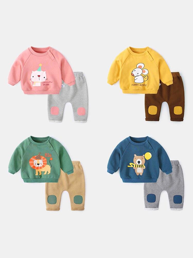Bebé niños encantadores animales de dibujos animados suéter traje primavera otoño Niños Niñas Ropa Deportiva conjunto recién nacido sudadera + Pantalones P139