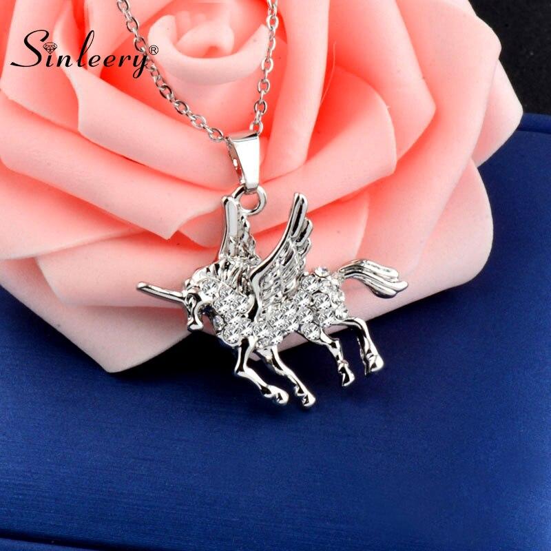 Colgante de caballo de diamantes de imitación SINLEERY, bonito y bonito collar de Animal, gargantilla de Color plateado, cadena para mujeres y niñas, el mejor regalo XL237 SSB