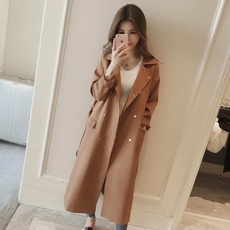 Gabardina larga de otoño-primavera para mujer, cazadora de talla grande para mujer, color blanco, negro, ladrillo rojo, abrigo de talla grande, chaqueta tendencia