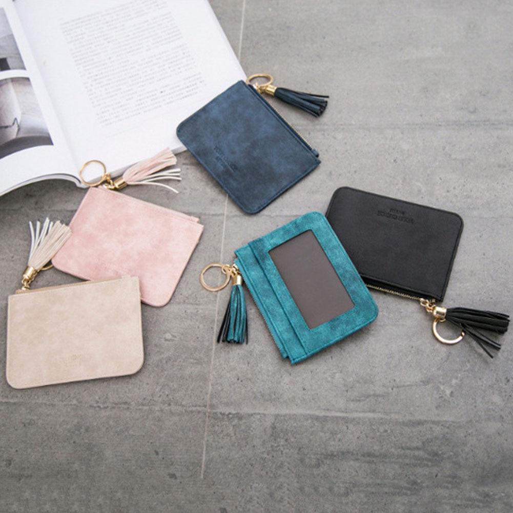 2021 Fashion Tassels Short Wallet Bag for Women PU Leather Clutch Bags Cute Korean Card Holder Female Small Coin Purses