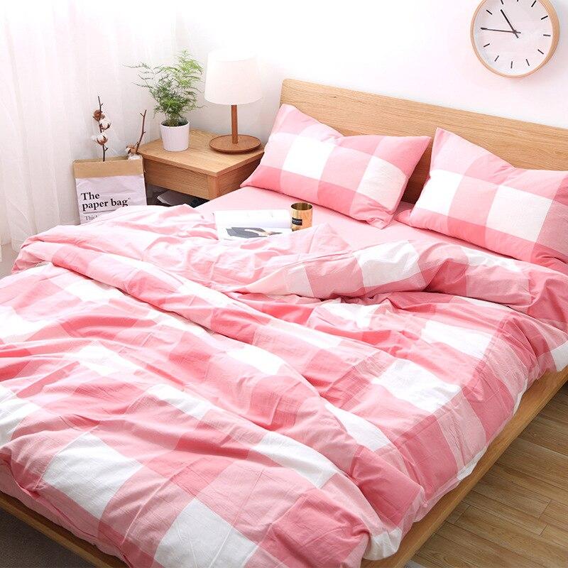 طقم أغطية لحاف من القطن المغسول بأربع قطع ، طقم سرير ، ملاءة ، بطانية ، ناعمة ، منقوشة ، بسيطة